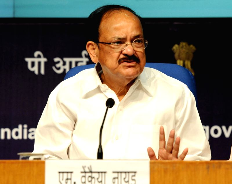 Union Minister for Urban Development, Housing and Urban Poverty Alleviation and Information and Broadcasting M Venkaiah Naidu addresses a press conference on the 'Changing Face of Urban ... - M Venkaiah Naidu
