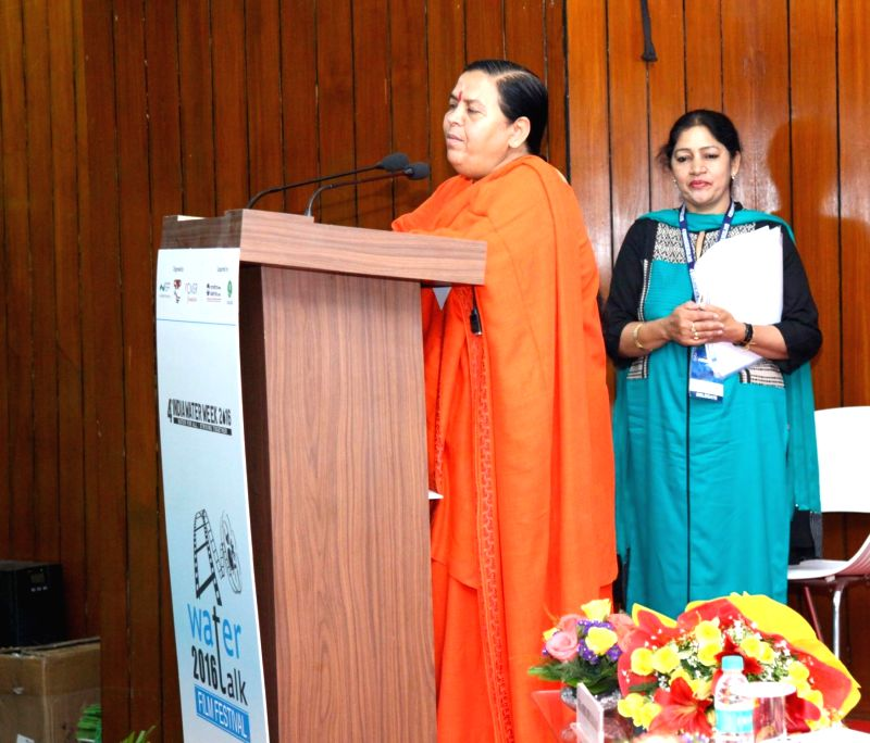 Union Minister for Water Resources, River Development and Ganga Rejuvenation Uma Bharti addresses at the inauguration of the Water Film Festival, at the Water Expo-2016, organised by the ...