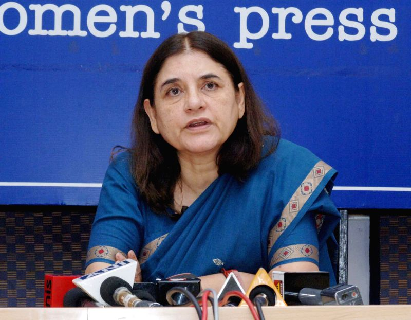 Union Minister for Women and Child Development Maneka Sanjay Gandhi addresses press at the Indian Woman's Press corps, in New Delhi on March 8, 2015.