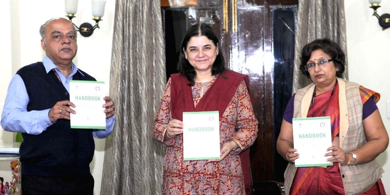 """Union Minister for Women and Child Development Maneka Sanjay Gandhi releases the """"Handbook on Sexual Harassment of Women at Workplace (Prevention, Prohibition and Redressal) Act, ..."""