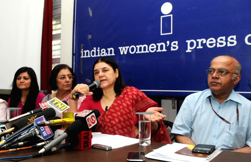 Union Minister for Women and Child Development Maneka Sanjay Gandhi during a pres conference regarding two years' achievements, in New Delhi on May 17, 2016.