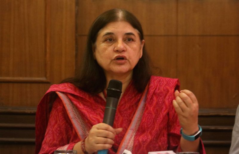 "Union Minister for Women and Child Development Maneka Gandhi release CD of ""The Evidence - Meat Kills"", a documentary directed by Mayank Jain in New Delhi on Sept 18, 2017. - Development Maneka Gandhi and Mayank Jain"