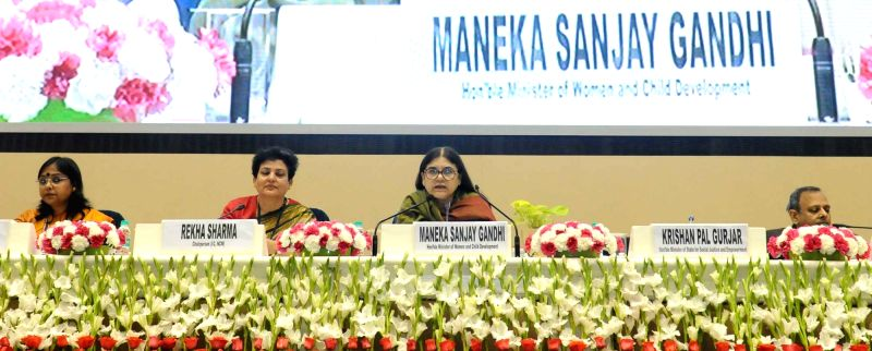 Union Minister for Women and Child Development Maneka Sanjay Gandhi addresses during the commemoration of 25 years of National Commission for Women in New Delhi on Jan 31, 2018. Also seen ... - Rekha Sharma