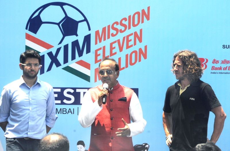 Union Minister for Youth Affairs and Sports Vijay Goyal addresses during the inauguration of 'Mission XI Million Football Festival' at Shahaji Raje Krida Sankul in Mumbai on May 17, 2017. ...