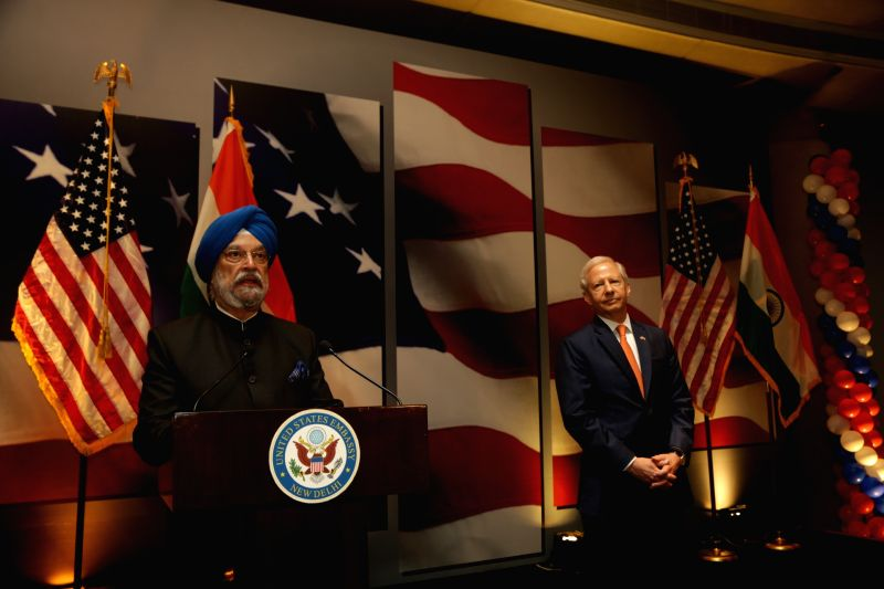 Union Minister Hardeep Singh Puri addresses during the 242nd anniversary celebrations of the Independence of the United States of America; in New Delhi on Aug 2, 2018. - Hardeep Singh Puri