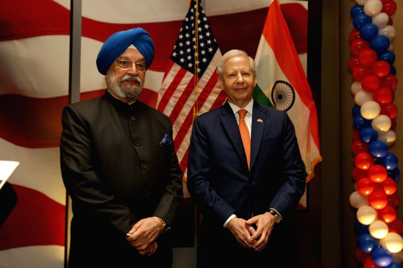 Union Minister Hardeep Singh Puri and US Ambassador to India Kenneth I. Juster during the 242nd anniversary celebrations of the Independence of the United States of America; in New Delhi ... - Hardeep Singh Puri