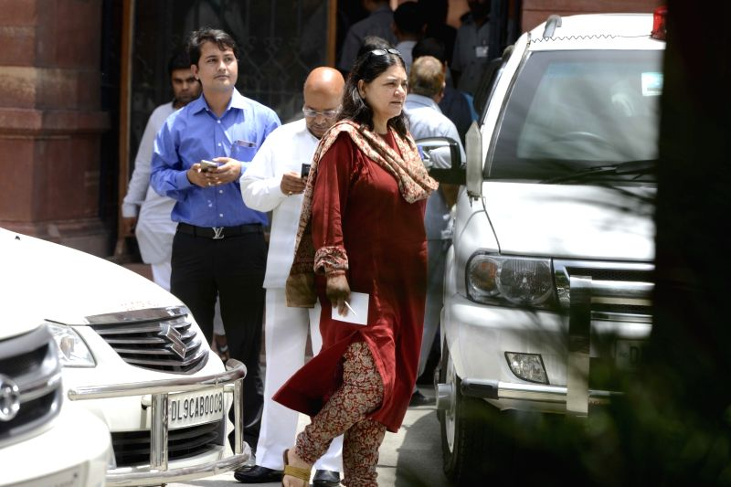 Union Minister Maneka Gandhi comes out come out after a cabinet meeting at South Block in New Delhi on June 1, 2016. - Maneka Gandhi