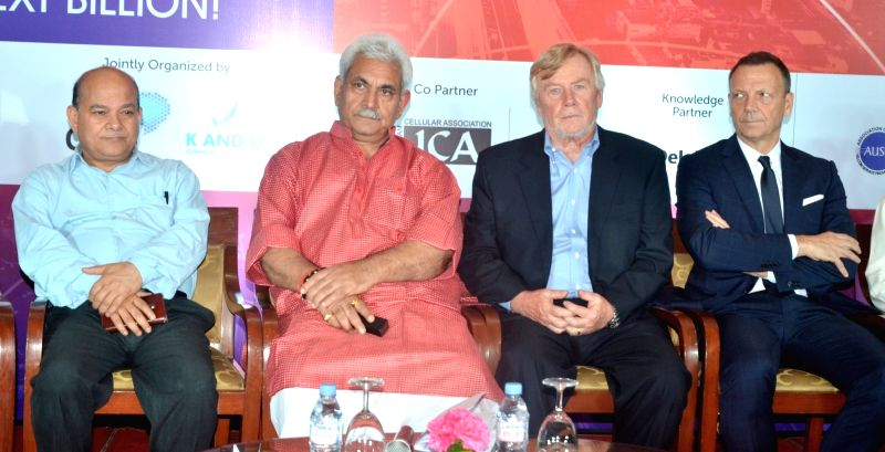 Union Minister Manoj Sinha during the Curtain Raiser of India Mobile Congress 2017 in New Delhi on May 30, 2017. - Manoj Sinha