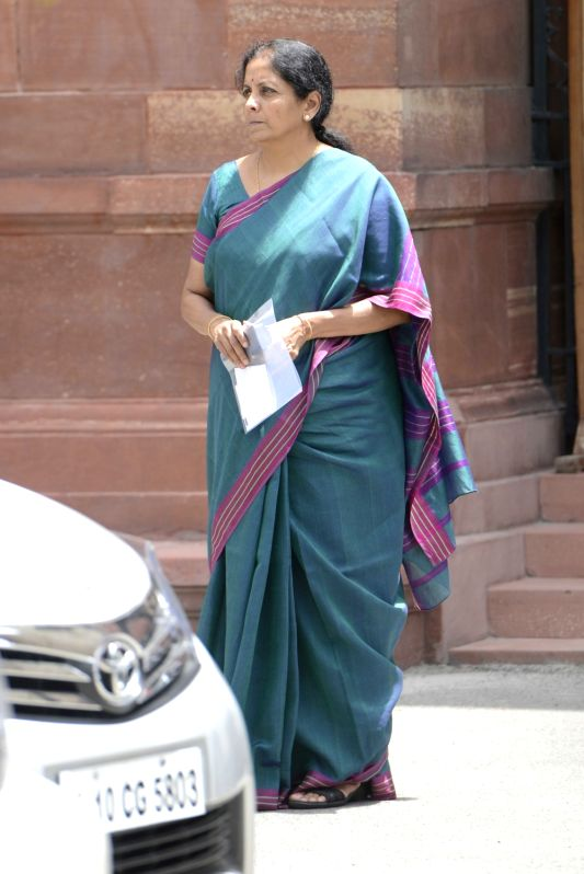 Union Minister Nirmala Sitharaman comes out after a cabinet meeting at South Block in New Delhi on June 1, 2016. - Nirmala Sitharaman