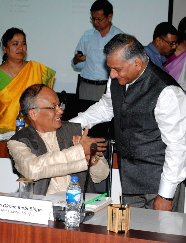 Union Minister of Development of North Eastern Region (Independent Charge) General (retd) V.K. Singh with Manipur Chief Minister Okram Ibobi Singh during the Conference of Chief Ministers of ... - Okram Ibobi Singh and K. Singh