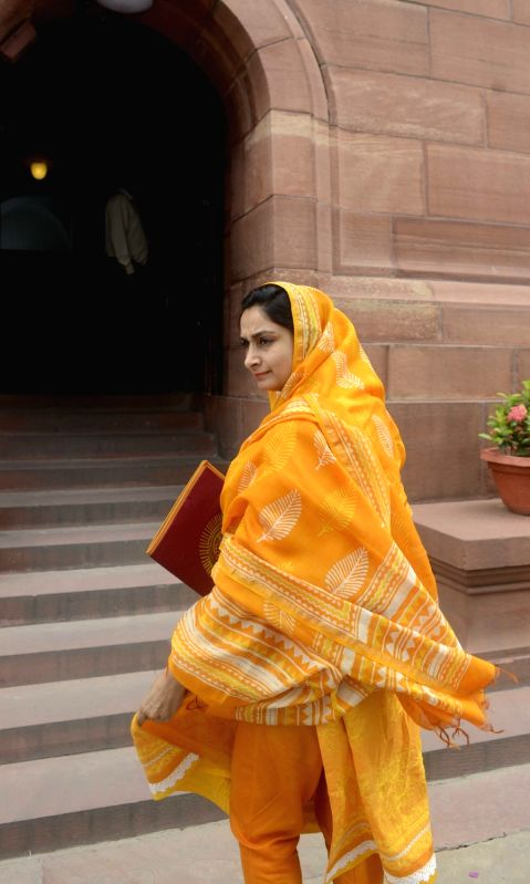 Union Minister of Food Processing Harsimrat Kaur Badal at Parliament in New Delhi, on July 28, 2016.