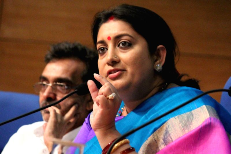 Union Minister of Human Resource Development Minister Smriti Irani addresses a press conference regarding the achievements of her ministry during the last two years, in New Delhi on June ... - Smriti Irani