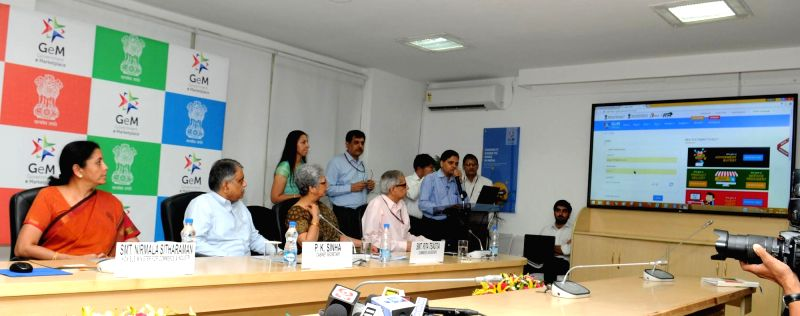 Union Minister of State for Commerce and Industry (Independent Charge) Nirmala Sitharaman launch the Government e Marketplace (GeM), in New Delhi on Aug 9, 2016. Also seen Cabinet ...