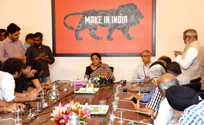 Union Minister of State for Commerce & Industry (Independent Charge) Nirmala Sitharaman addresses a press conference in New Delhi on April 24, 2017.