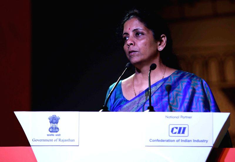 Union Minister of State for Commerce Nirmala Sitaraman addresses at the Resurgent Rajasthan Partnership Summit - 2015 in Jaipur, on Nov 20, 2015.