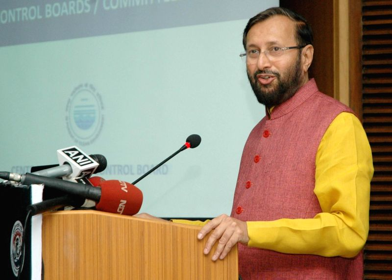Union Minister of State for Environment, Forest and Climate Change Prakash Javadekar addresses at the inaugural session of a workshop of Pollution Control Boards of States, in New Delhi on ...