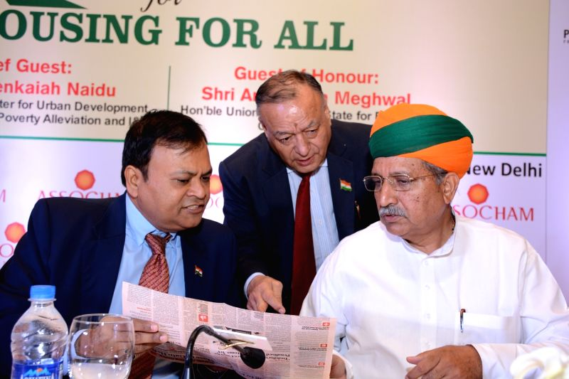 Union Minister of State for Finance & Corporate Affairs Arjun Ram Meghwal, ASSOCHAM President Sunil Kanoria and Secretary General DS Rawat during at ASSOCHAM National Summit on ...