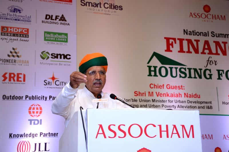"""Union Minister of State for Finance & Corporate Affairs Arjun Ram Meghwal addresses during at ASSOCHAM National Summit on """"Finance for Housing for All""""; in New Delhi on July ..."""