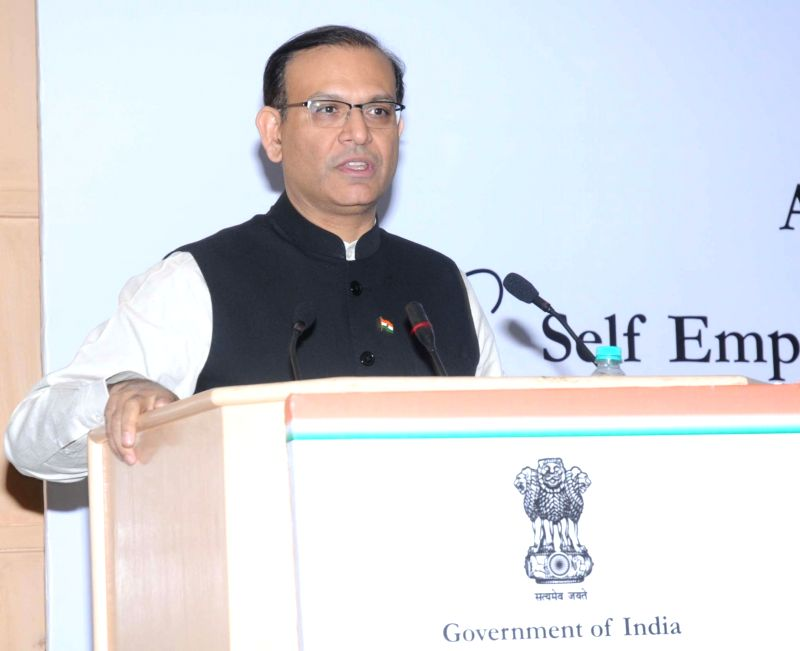 Union Minister of State for Finance Jayant Sinha addresses at the Panel Discussion on Atal Innovation Mission (AIM) and Self Employment and Talent Utilization (SETU), in New Delhi on Dec ...