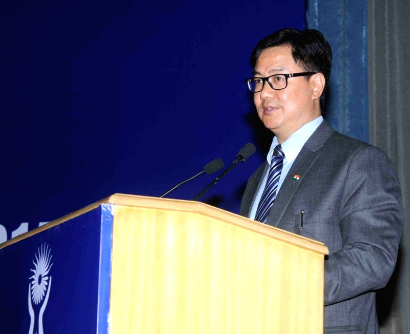 "Union Minister of State for Home Affairs Kiren Rijiju addresses at the ""Human Rights Day"" function, organised by the National Human Rights Commission (NHRC), in New Delhi on Dec ..."