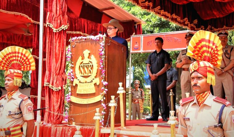 Union Minister of State for Home Affairs Kiren Rijiju addresses during the passing out parade of 17th Assistant Commandant-Direct Entry (ACDE) batch and 8th Limited Departmental Competitive ...