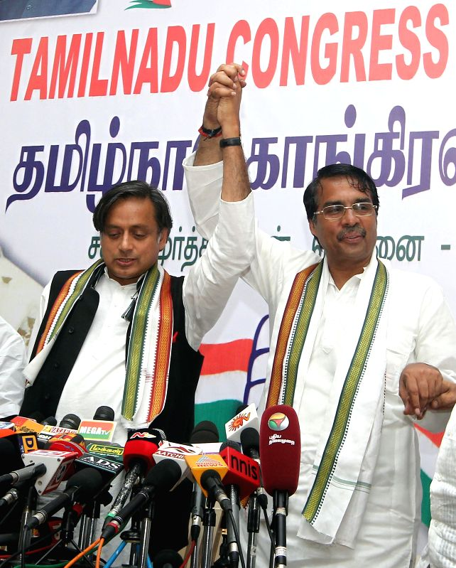 Union Minister of State for Human Resource Development, Shashi Tharoor during a press conference in Chennai on April 17, 2014.