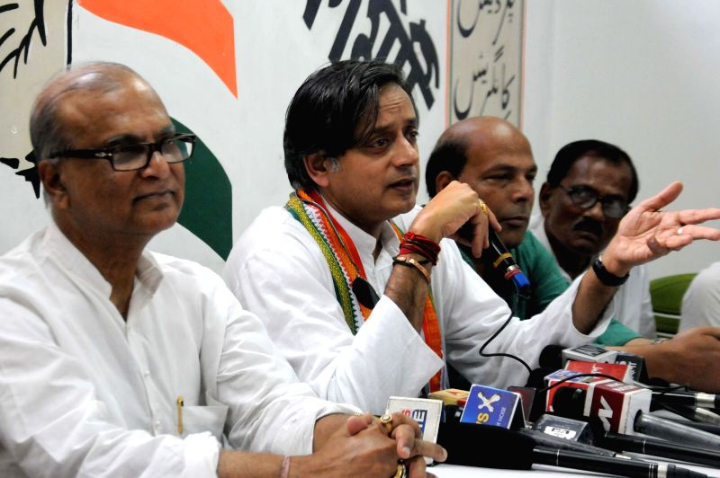 Union Minister of State for Human Resource Development and Congress leader Shashi Tharoor during a press conference in Kolkata on May 9, 2014.