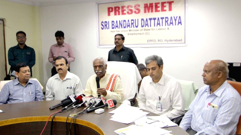 Union Minister of State for Labour and Employment (Independent Charge) Bandaru Dattatreya addresses a press conference in Hyderabad on May 14, 2016.