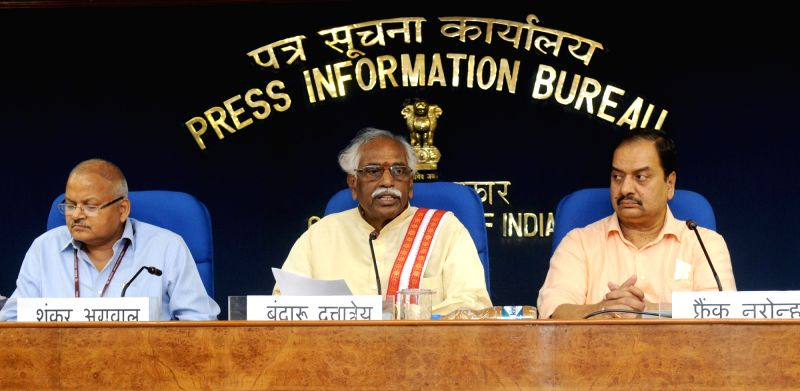 Union Minister of State for Labour and Employment (Independent Charge), Bandaru Dattatreya announces the new scheme for bonded labour, at a press conference, in New Delhi on May 17, 2016.
