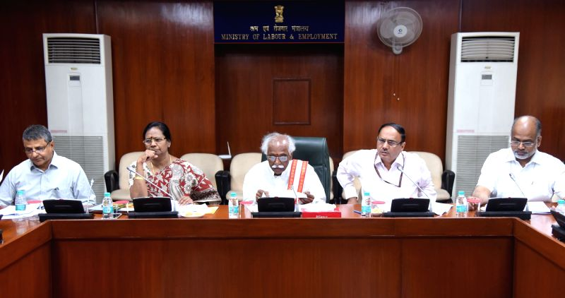 Union Minister of State for Labour and Employment (Independent Charge) Bandaru Dattatreya chairs the review meeting of the Ministry of Labour & Employment on the completion of 3 years ...