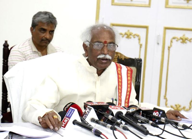 Union Minister of State for Labour and Employment (Independent Charge), Bandaru Dattatreya addresses a press conference, in Hyderabad on May 21, 2017.