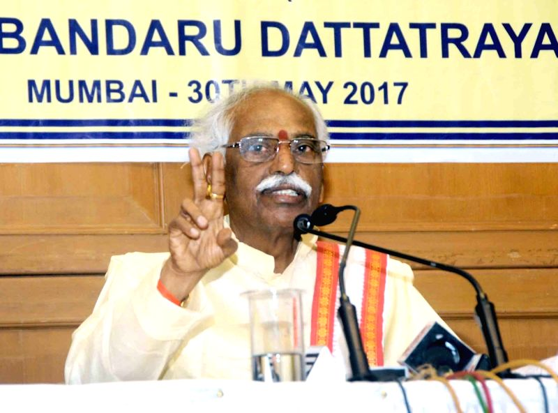 Union Minister of State for Labour and Employment Bandaru Dattatreya addresses a press conference, in Mumbai on May 30, 2017.
