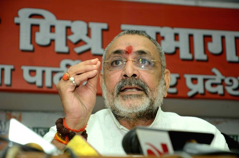 Union Minister of State for Micro, Small and Medium Enterprises Giriraj Singh addresses a press conference in Patna on July 24, 2016. - Enterprises Giriraj Singh