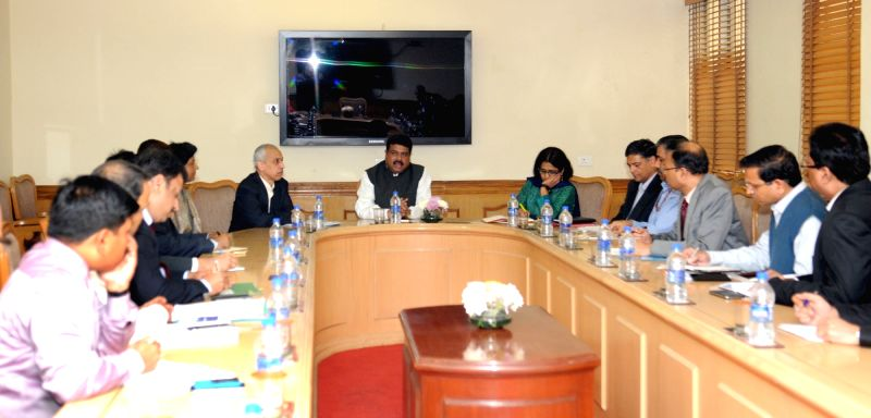 Union Minister of State for Petroleum and Natural Gas (Independent Charge), Dharmendra Pradhan during a meeting with the head of Centre for Science and Environment,  Sunita Narain, in New ...