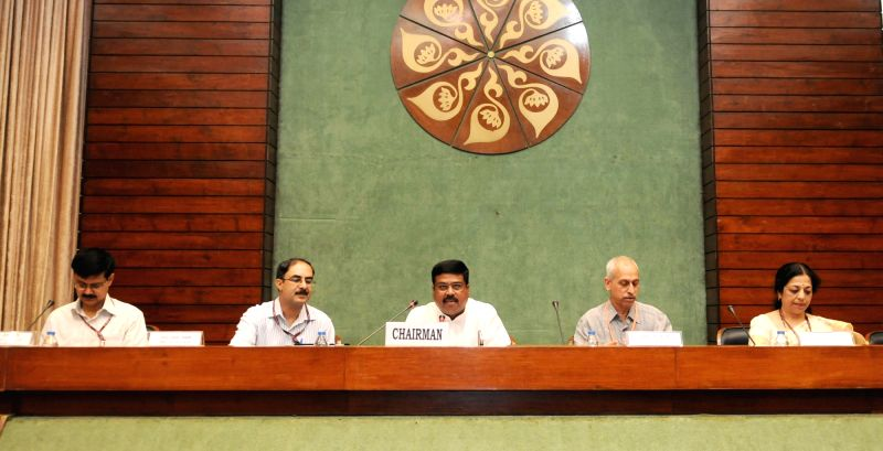 Union Minister of State for Petroleum and Natural Gas Dharmendra Pradhan chairs the meeting of the Consultative Committee of the Members of Parliament for the Ministry of Petroleum and ...