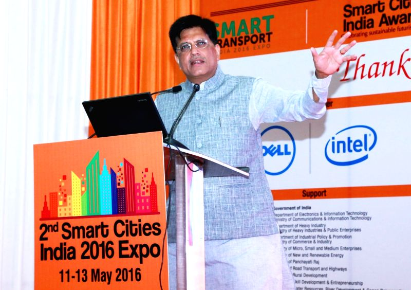 Union Minister of State for Power, Coal and New and Renewable Energy Piyush Goyal addresses at the inauguration of the 2nd Smart Cities India 2016 Expo, in New Delhi on May 11, 2016.