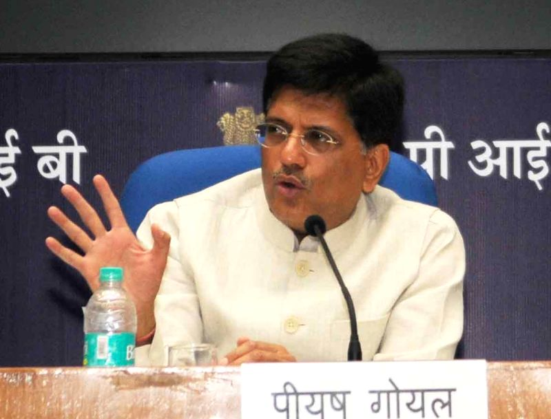 Union Minister of State for Power, Coal and New and Renewable Energy, Piyush Goyal addresses a press conference regarding achievements of his Ministries in last 2 years of the NDA ...