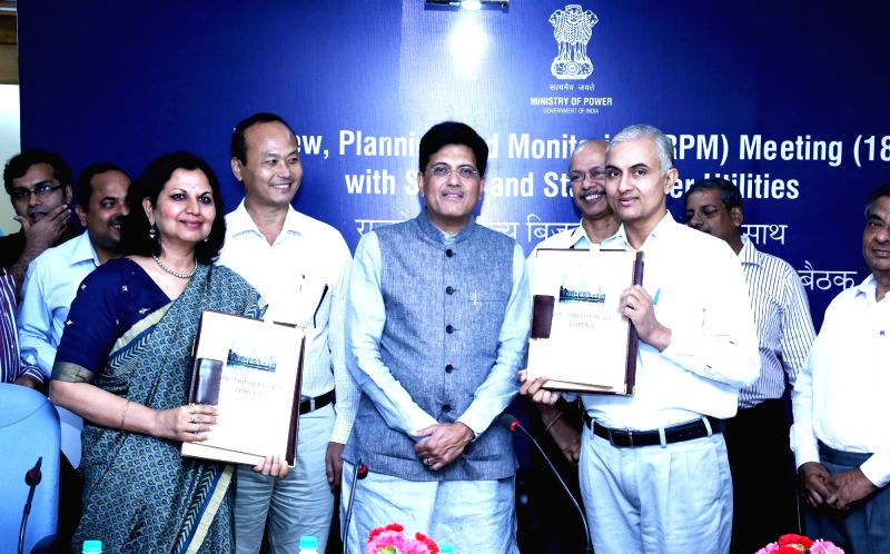 Union Minister of State for Power, Coal, New and Renewable Energy and Mines (Independent Charge) Piyush Goyal witness the signing ceremony of the Government of Tripura 24x7 power for all ...