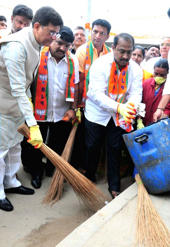Union Minister of State for Power, Coal, New and Renewable Energy and Mines Piyush Goyal participates during Swachh Bharat Abhiyan in Bengaluru on June 6, 2017.