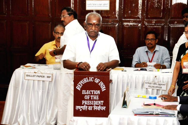 Union Minister of State for Road Transport, Highways and Shipping Pon Radhakrishnan casts his vote during presidential polls at Tamil Nadu Assembly in Chennai on July 17, 2017.