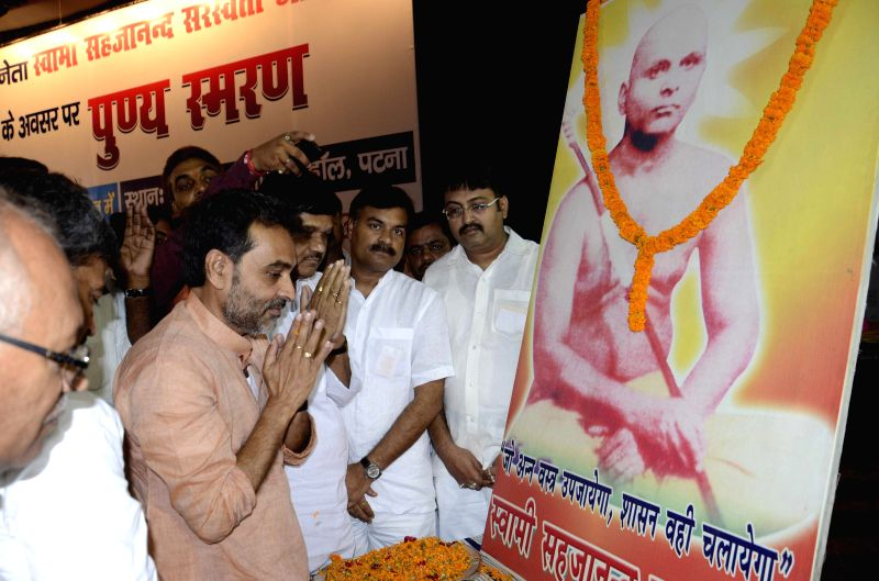 Union Minister of State for Rural Development, Panchayati Raj, Drinking Water and Sanitation Upendra Kushwaha during a programme organised on the death anniversary of Sahajanand Saraswati - an ...