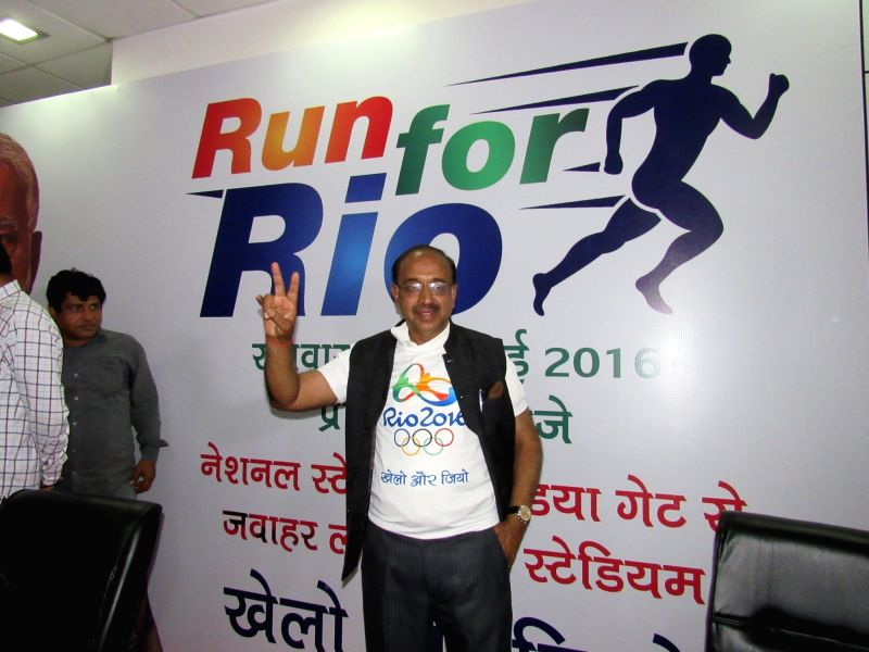 Union Minister of State for Youth Affairs and Sports Vijay Goel during a press conference on 'Run for Rio Olympics', in New Delhi on July 25, 2016.