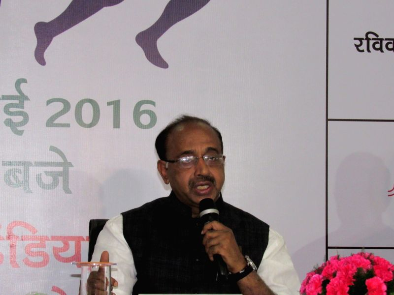 Union Minister of State for Youth Affairs and Sports Vijay Goel addresses a press conference on 'Run for Rio Olympics', in New Delhi on July 25, 2016.