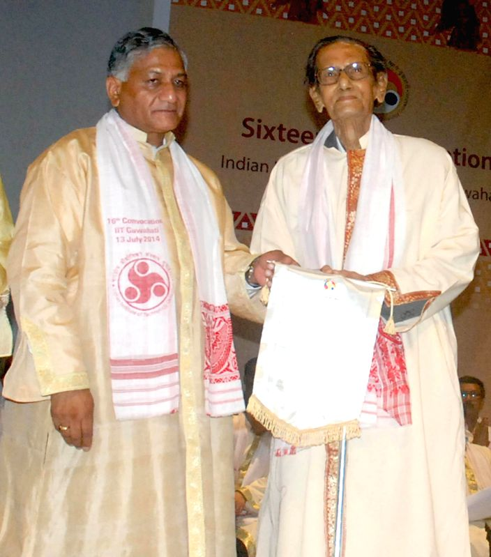 Union Minister of State (Independent charge) for Development of Northeast Region (DoNER) V.K. Singh presents Doctor of Science D.Sc. (Honoris Causa) degree to Professor Emeritus, Gauhati University, . - K. Singh