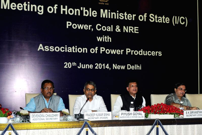 Union Minister of State with Independent Charge for Power, Coal and New and Renewable Energy Piyush Goyal during an Association of Power Producers (APP) meeting in New Delhi on June 20, 2014.