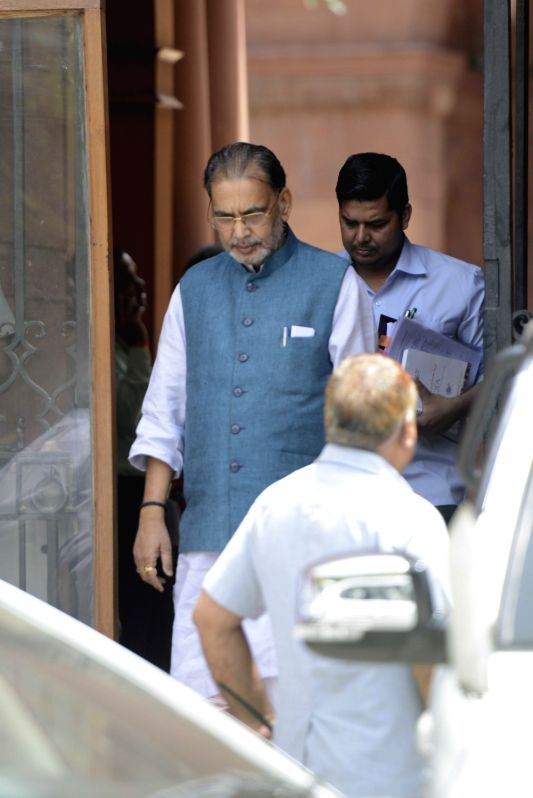 Union Minister Radhamohan Singh comes out after a cabinet meeting at South Block in New Delhi on June 1, 2016. - Radhamohan Singh