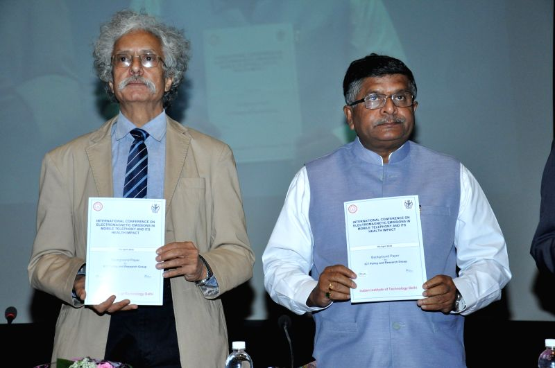 "Union Minister Ravi Shankar Prasad and IIT Delhi Director Dr. K Thyagarajan release a Paper on EMF Emissions from Mobile Towers conference on ""Electromagnetic Emissions in Mobile ... - Ravi Shankar Prasad"