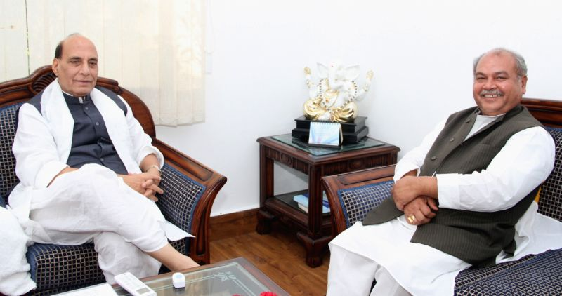 Union Minister Rural Development Narendra Singh Tomar calls on Union Home Minister Rajnath Singh, in New Delhi on June 1, 2017. - Rural Development Narendra Singh Tomar and Rajnath Singh