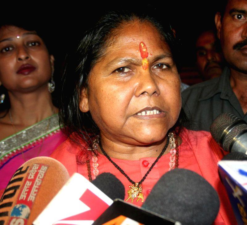 Union Minister Sadhvi Niranjan Jyoti talks to press in Varanasi on March 20, 2015.