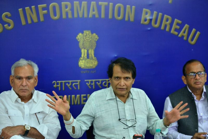Union MInister Suresh Prabhu during a press conference in New Delhi on June 8, 2018. - Suresh Prabhu